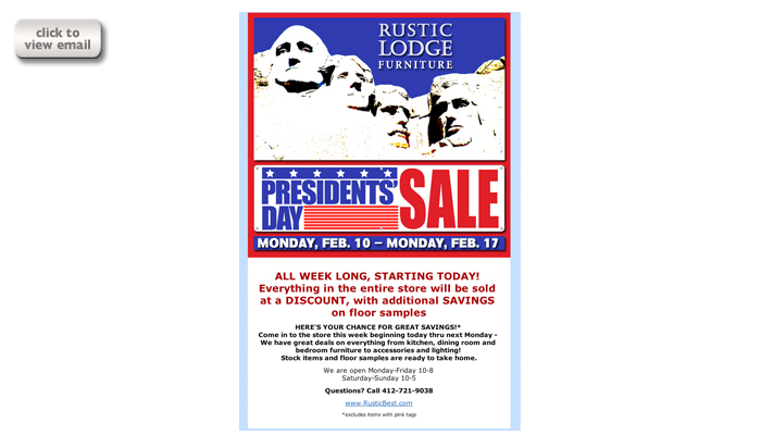 email blast for rustic lodge furniture day week sale