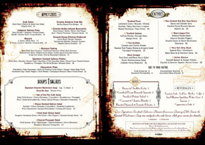 Out of the Fire Cafe in-house menu