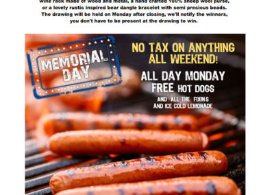 Rustic Lodge Memorial Day promotion