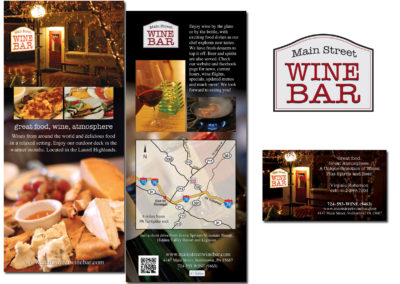 Wine Bar - rack cards, business cards, logo design - all photos by Shanna B.
