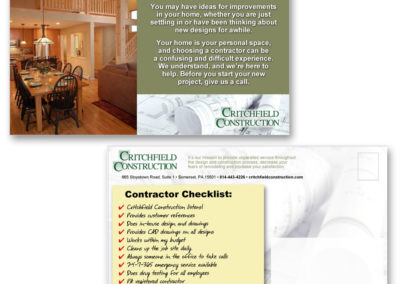 New home owner postcards for Critchfield Construction - 1st of campaign