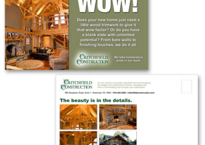 New home owner postcards for Critchfield Construction -  3rd of campaign