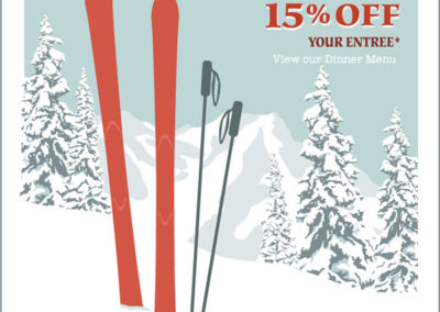 Ski season special poster for Out of the Fire Cafe