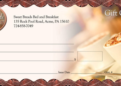 Sweet Bread B&B - gift certificates