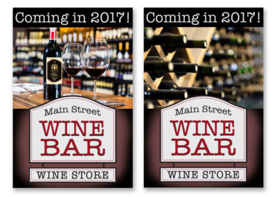 Wine Bar front and back table cards